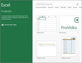 Některé z šablon dostupných v Excelu