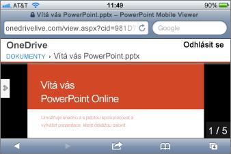 Prezentace v prohlížeči PowerPoint Mobile Viewer