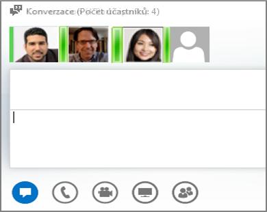 Snímek obrazovky pro zaslání rychlé zprávy skupině