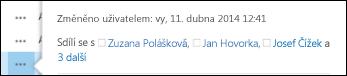 Kontextová karta obsahuje seznam uživatelů, kteří sdílejí dokument.