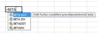 Příklad automatického dokončování vzorce