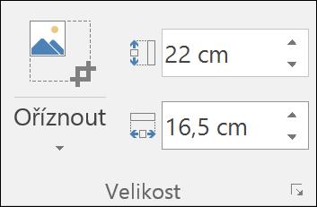 Snímek obrazovky znázorňující nastavení výšky a šířky