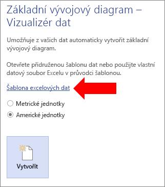 Výběr odkazu na šablonu dat v Excelu