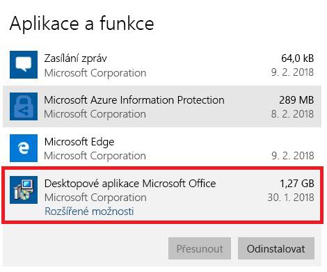 Desktopové aplikace Microsoft Office