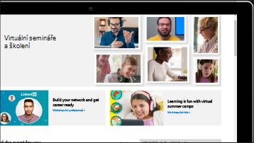 Obrazovka se snímkem obrazovky svirtuálními semináři aškoleními