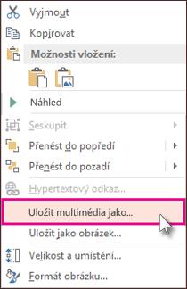 Kliknutí na rámeček videa pravým tlačítkem