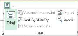 Na panelu nástrojů Rychlý přístup klikněte na XML.