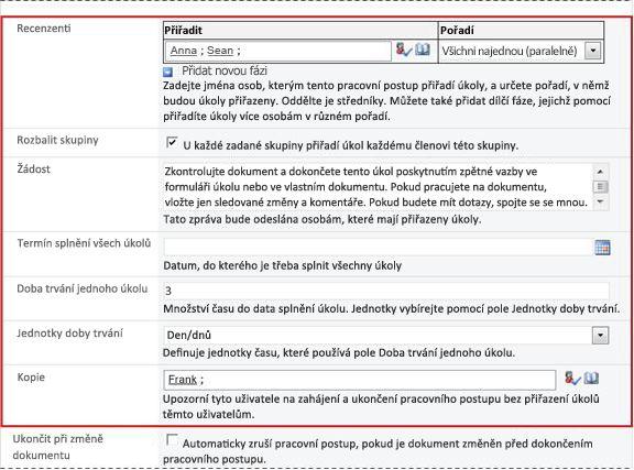 Druhá stránka přidružovacího formuláře s vyznačenými poli inicializačního formuláře