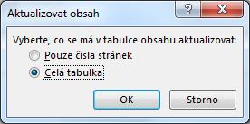 Dialogové okno Aktualizace obsahu