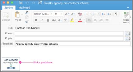 E-mailová zpráva s blokem podpisu