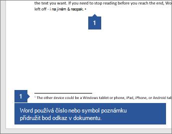 Word pomocí čísla nebo symbolu přidruží poznámku k referenčnímu bodu v dokumentu.