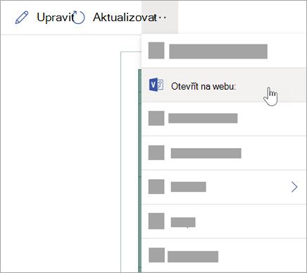 Pokud chcete další možnosti, vyberte tři tečky (...) a pak vyberte otevřít na webu.