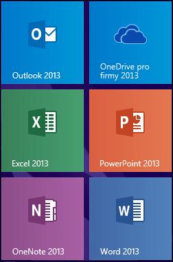 Dlaždice aplikace OneDrive 2013 pro firmy ve Windows 8