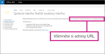 Ve Správci návrhu Office 365 zkopírujte nebo si poznamenejte adresu URL.