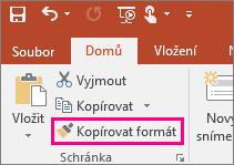 Zobrazuje tlačítko Kopírovat formát v PowerPointu.