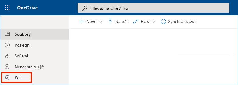 Zobrazení koše v levé nabídce v online verzi OneDrivu pro firmy