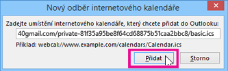 odběr internetového kalendáře
