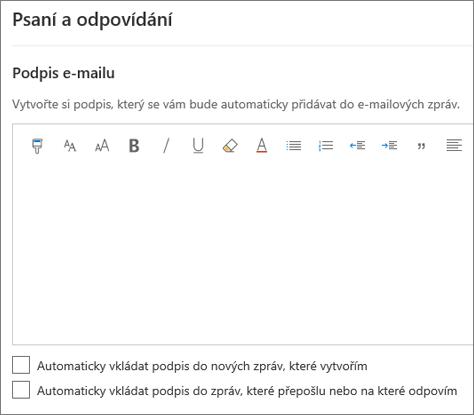 Vytvoření podpisu e-mailu v Outlooku na webu