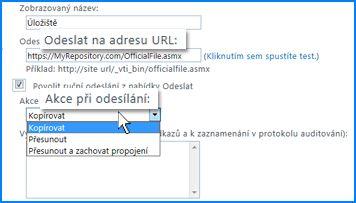 Snímek obrazovky oddílu Nastavení připojení na stránce Připojení pro odesílání v Centru pro správu SharePointu Online. Tady můžete zadat adresu URL pro cílové umístění organizátora obsahu.