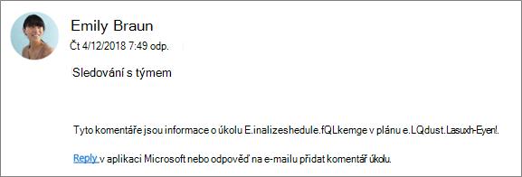 Snímek obrazovky: S e-mailu skupině místo, kam se zeptejte spolupracovníka odpovídání na první komentář.