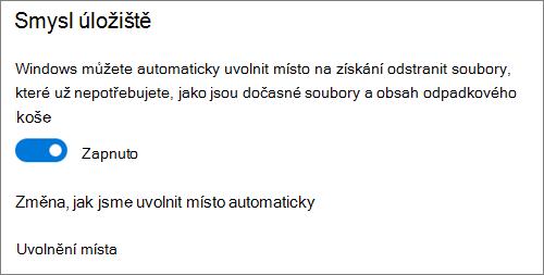 Přepínač Úložiště ve Windows 10 pro aktivaci funkce Storage Sense