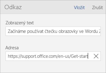 Snímek obrazovky dialogu Odkaz ve Wordu Mobile s poli Zobrazený text a Adresa
