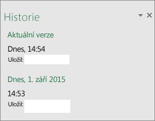 Podokno historie v Excelu 2016 pro Windows
