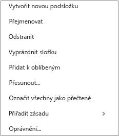 Kontextová nabídka nebo nabídka klávesových zkratek, která se zobrazí po kliknutí pravým tlačítkem myši na doručenou poštu