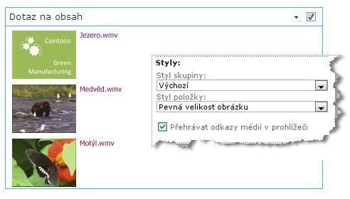 Webová část Dotaz na obsah s nakonfigurovanou pevnou velikostí obrázků