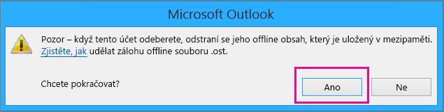 Po odebrání vašeho účtu Gmail z Outlooku klikněte v upozornění o odstranění vaší offline mezipaměti na Ano.