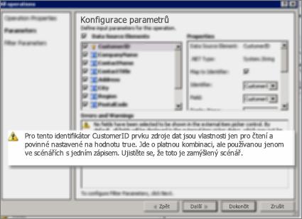 2. snímek obrazovky s dialogem Všechny operace v SharePoint Designeru. Na této stránce se zobrazí upozornění s vysvětlením nastavení klíčových vlastností v seznamu.