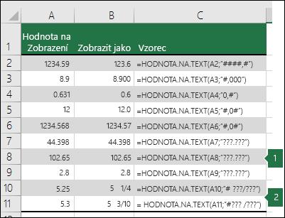 Příklady formátovacích řetězců čísla Obecné, Desetinné a Zlomek.
