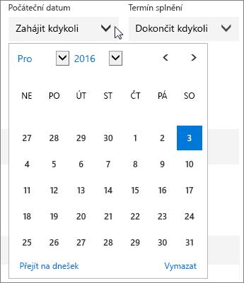 Snímek obrazovky s rozbalenou nabídkou Datum zahájení pro úkol Planneru
