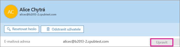 Vedle e-mailové adresy zvolte Upravit