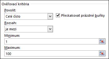 Dialogové okno Ověřovací kritéria