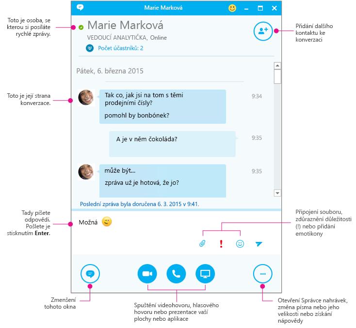 Znázorněné podokno zasílání rychlých zpráv ve Skypu pro firmy