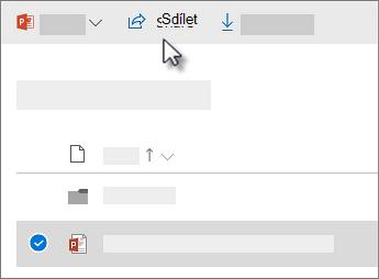 Snímek obrazovky s výběrem souboru a kliknutím na příkaz Sdílet