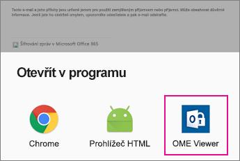 OME Viewer s Androidem e-mailovou aplikaci 2