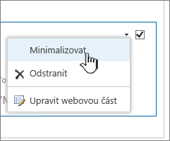 Klikněte na možnost nastavení šipka dolů a potom klikněte na tlačítko Minimalizovat