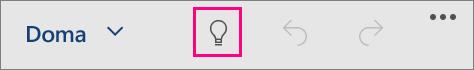 Zobrazuje ikonu Řekněte mi v Office pro Windows 10 Mobile.