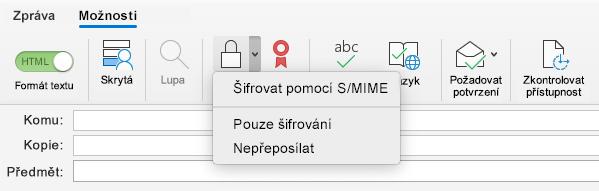 Možnost šifrovat pomocí parametru S/MIME