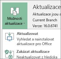 Výběr možnosti Aktualizovat v rozevíracím seznamu Možnosti aktualizace