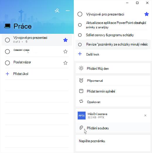Snímek obrazovky aplikace Microsoft To-Do s otevřeným úkolem Příprava na prezentaci a zvýrazněnou možností Přidat soubor