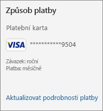 Oddíl Způsob platby na stránce Předplatné zobrazující odkaz Aktualizovat podrobnosti platby