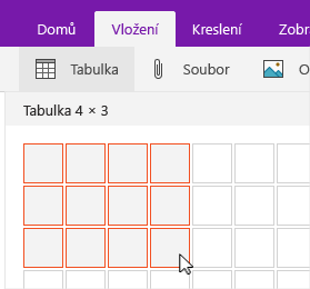 Příkaz Vložit tabulku zobrazující mřížku výběru
