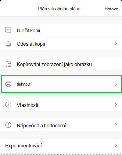 Možnosti tisku v prohlížeči Visio Viewer pro iOS