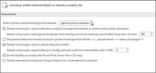 Úprava výchozího rozložení kontingenční tabulky vnabídce Soubor > Možnosti > Data