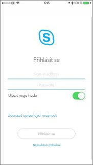Přihlašovací obrazovka ve Skypu pro firmy na iOS