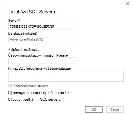 Dialogové okno připojení Power Query databáze systému SQL Server