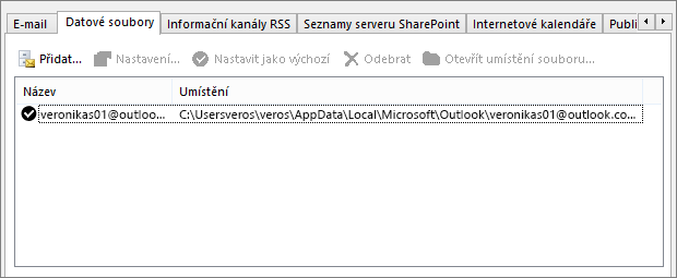 Karta Datové soubory pro Nastavení účtu v Outlooku se zobrazeným umístěním datových souborů Outlooku pro uvedeného uživatele